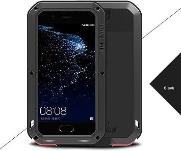 LOVE MEI Huawei P10 Impermeable Fundas, Poderosa Armadura del Metal de Aluminio a Prueba de Golpes Snowproof Cubierta Carcasa Gorilla Glass Hermética al Polvo para el Huawei P10 (Negro): Amazon.es: Electrónica