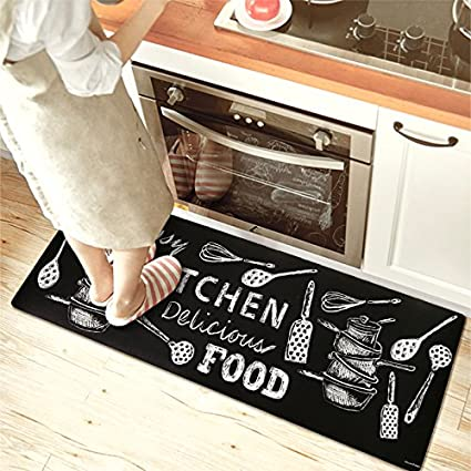 Ustide Black And White Kitchen Rug Non Slip Rubber Backing Doormat Runner Area Mats Waterproof Oilproof Floor Mat 17 7 X 47 Kitchen Food