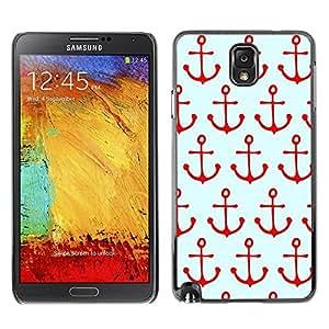 rígido protector delgado Shell Prima Delgada Casa Carcasa Funda Case Bandera Cover Armor para Samsung Note 3 N9000 N9002 N9005 /Pattern Sailing Red Sailor Sea Boat/ STRONG