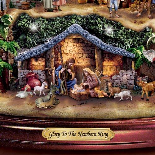 amazoncom thomas kinkade illuminated nativity tabletop tree glory to the newborn king by hawthorne village home kitchen