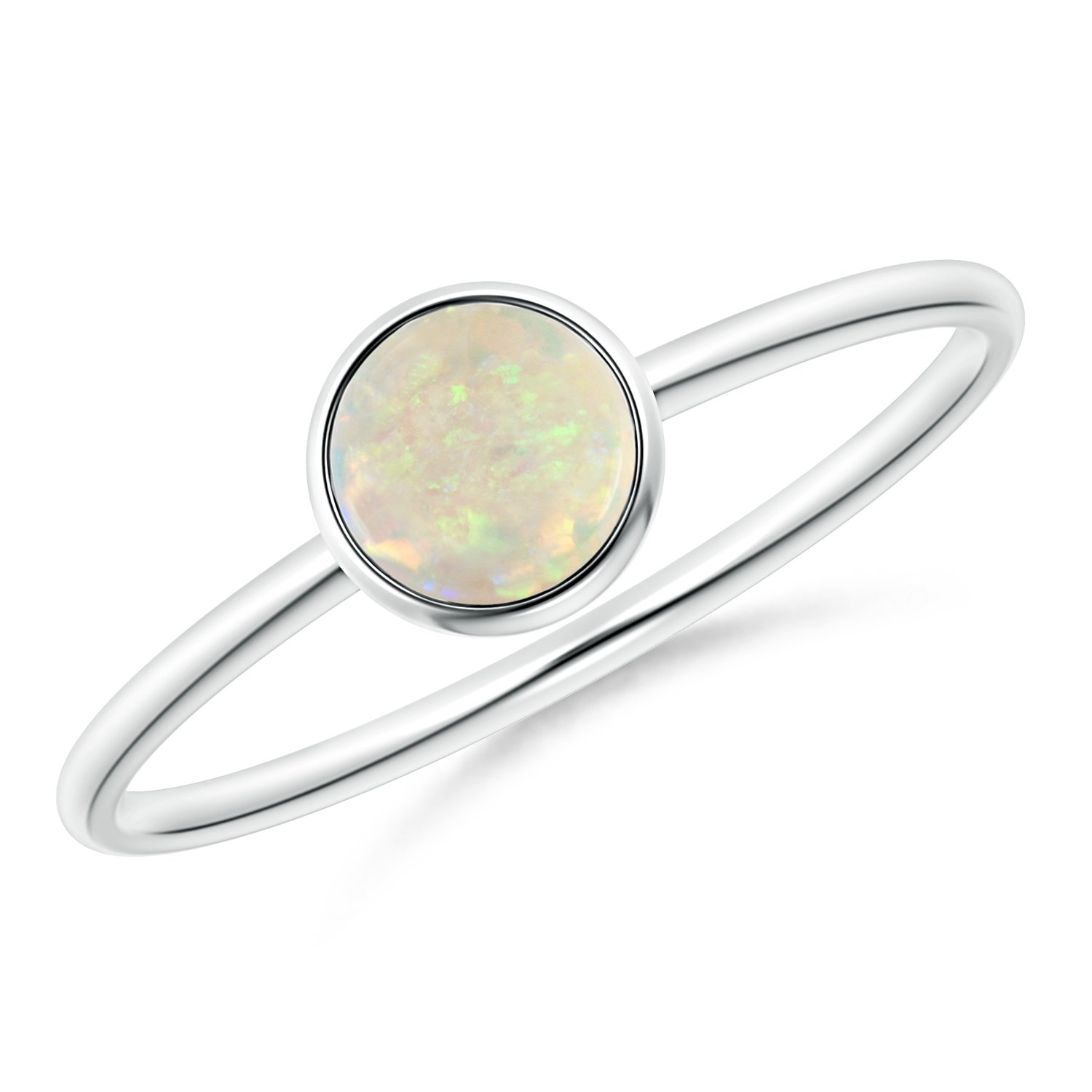 Black Friday - Bezel Set Round Opal Stackable Ring in Silver (5mm Opal)