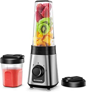 SHARDOR Personal Blender for Shakes and Smoothies Juice Blender with 3 Adjustable Speeds, Smoothie Maker with 20Oz & 10Oz Blender Cups for Ice, Smoothie, Milkshake, 300W, Silver