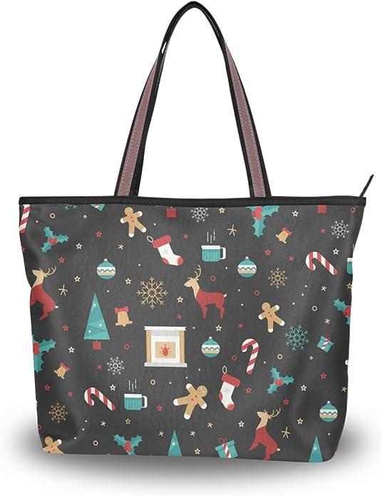 JSTEL Women Large Tote Top Handle Shoulder Bags Unicorns Patern Ladies Handbag