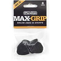 Dunlop Max Grip Jazz III - Púas para guitarra (nailon), Paquete de 6, Negro