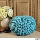 Poona Hand Knitted Artisan Round Pouf (Aqua)