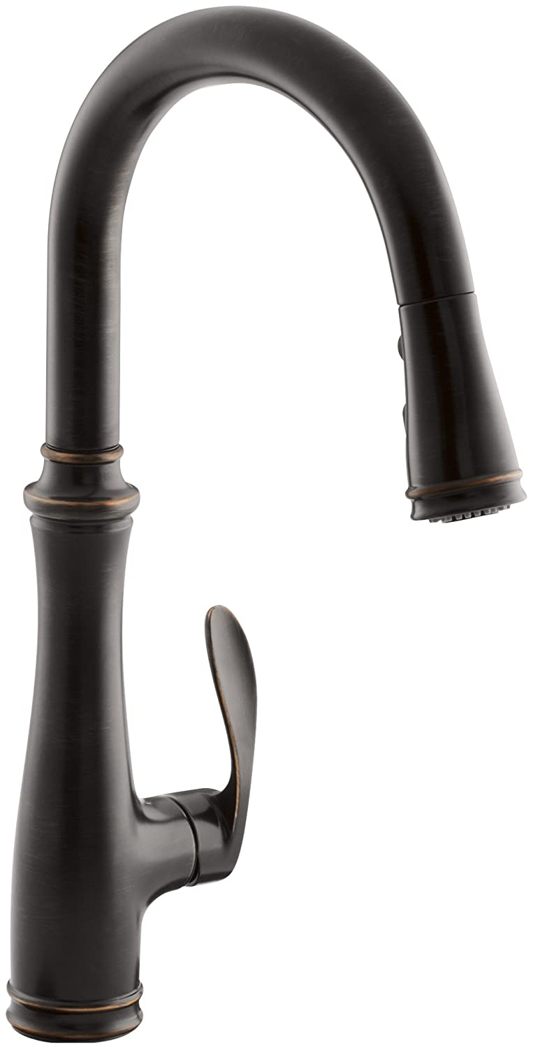 Kohler K-560-2BZ Bellera Pull-Down Kitchen Faucet, Oil-Rubbed Bronze, Single-Hole or Three-Hole Install, Single Handle, 3-function Spray Head, Sweep Spray and Docking Spray Head Technology