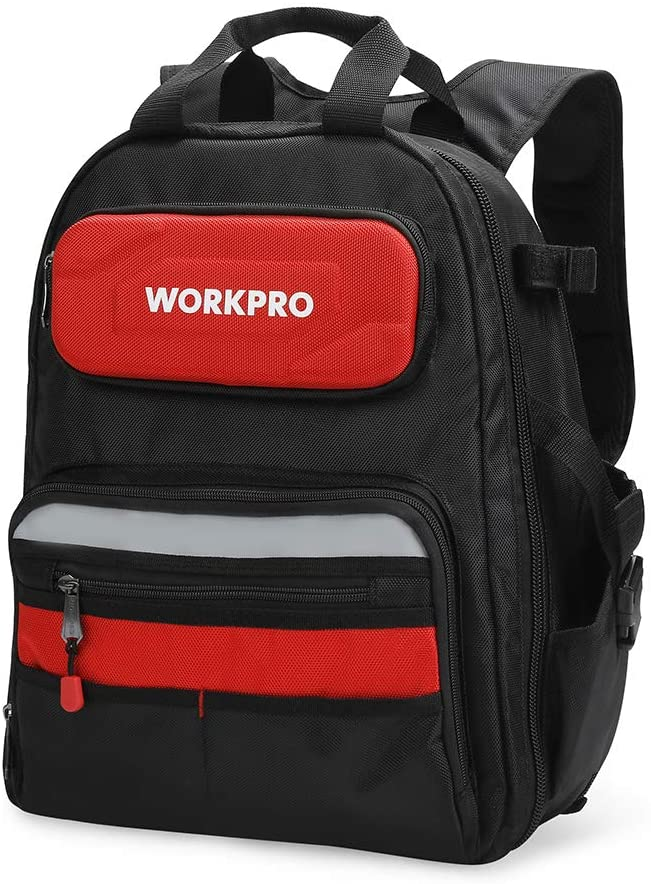 WORKPRO 29-Pocket Heavy-Duty Tool Backpack with Rubber Feet, Padded Back, Perfect Storage Organizer for Electricians, Plumbers, Contractors, HVAC, W081131A