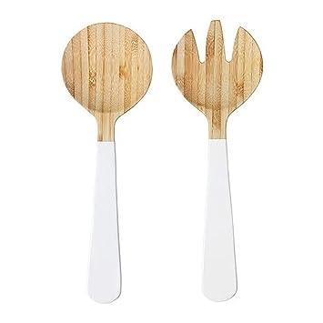 Juego de 2 cubiertos para ensalada de bambú y blanco de 31 cm, material natural