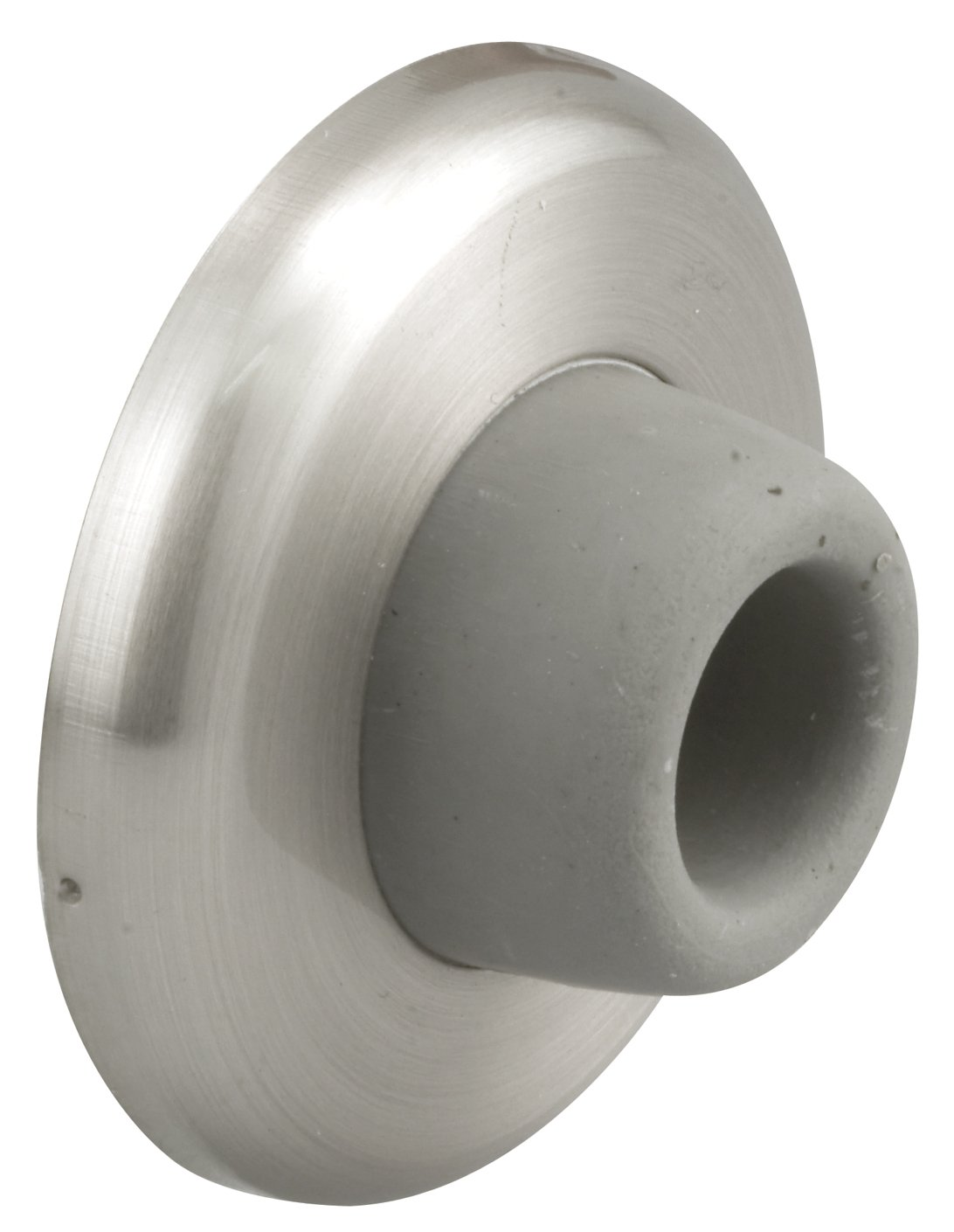 """Prime-Line J 4540 Wall Stop – Protects Walls from Door Knob Damage – 2-1/2"""" Outside Diameter Stainless Steel Cover with 1-1/8"""" Gray Round Rubber Bumper – Easy To Install by PRIME-LINE (Image #1)"""