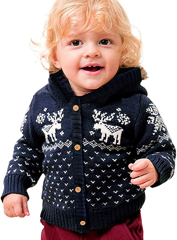 Tronet Christmas Baby Girls Boys Winter Deer Print Hooded Coat Toddler Knitted Warm Jacket Outerwear
