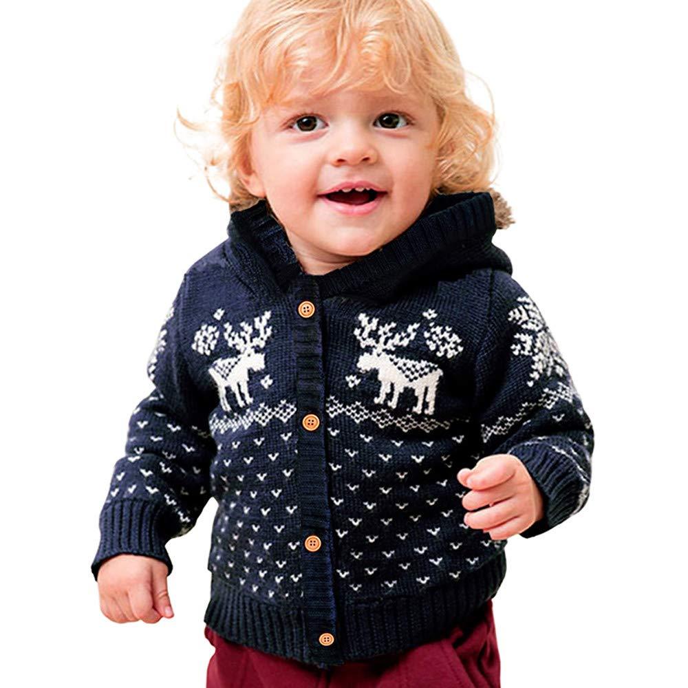 BYSTE_Natale Bambini Manica Lunga Natale Xmas Alce più Velluto Mantieni Caldo Maglione Giacca a Maglia Felpe con Cappuccio per 6-24 Mesi