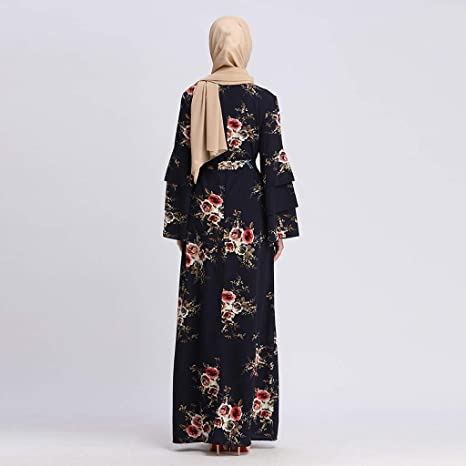 6ae831472168d Amazon.com: Women Summer Print Maxi Dress, Lady Trumpet Sleeve Embroidery  Elegant Swing Dress Long Robe Gowns Tunic Belt: Musical Instruments