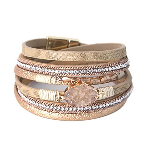 160bb8ca155 Gold 2 Wrap Bracelet Boho Jewelry Cuff Bracelet Crystal Bead Bracelet  Rhinestone Handmade Bangle Braided Magnetic