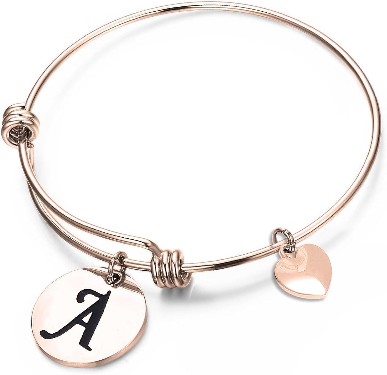 N chain bracelet for women,Alphabet Letter N Rose gold plated curved bracelet charm adjustable letter bracelet for women Layering bracelet