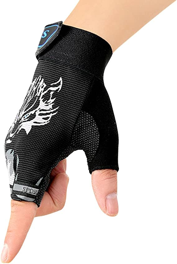 Short Sports Gloves Child Cycling Gloves Solid Color Half Finger Mittens