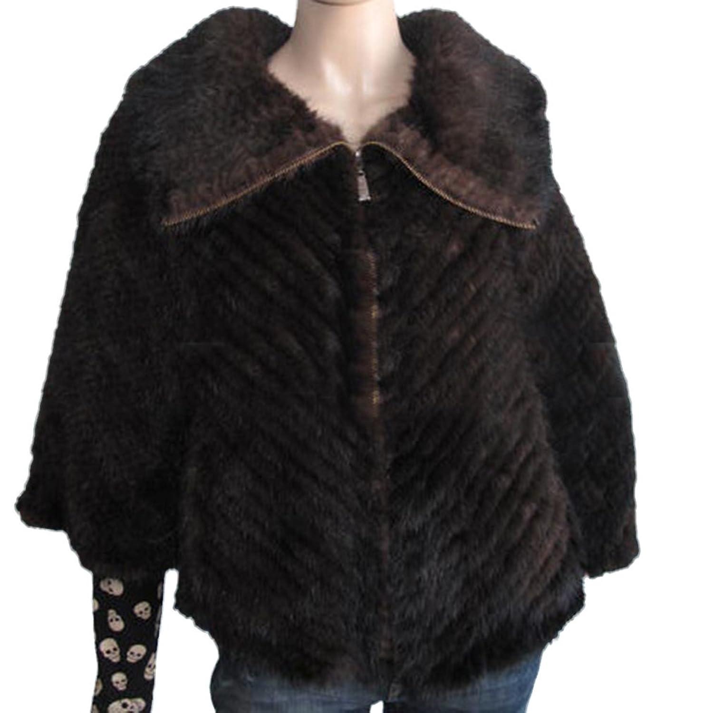 Fur Story 16718 Frauen Echt Nerz Poncho Mit Argyle Braun