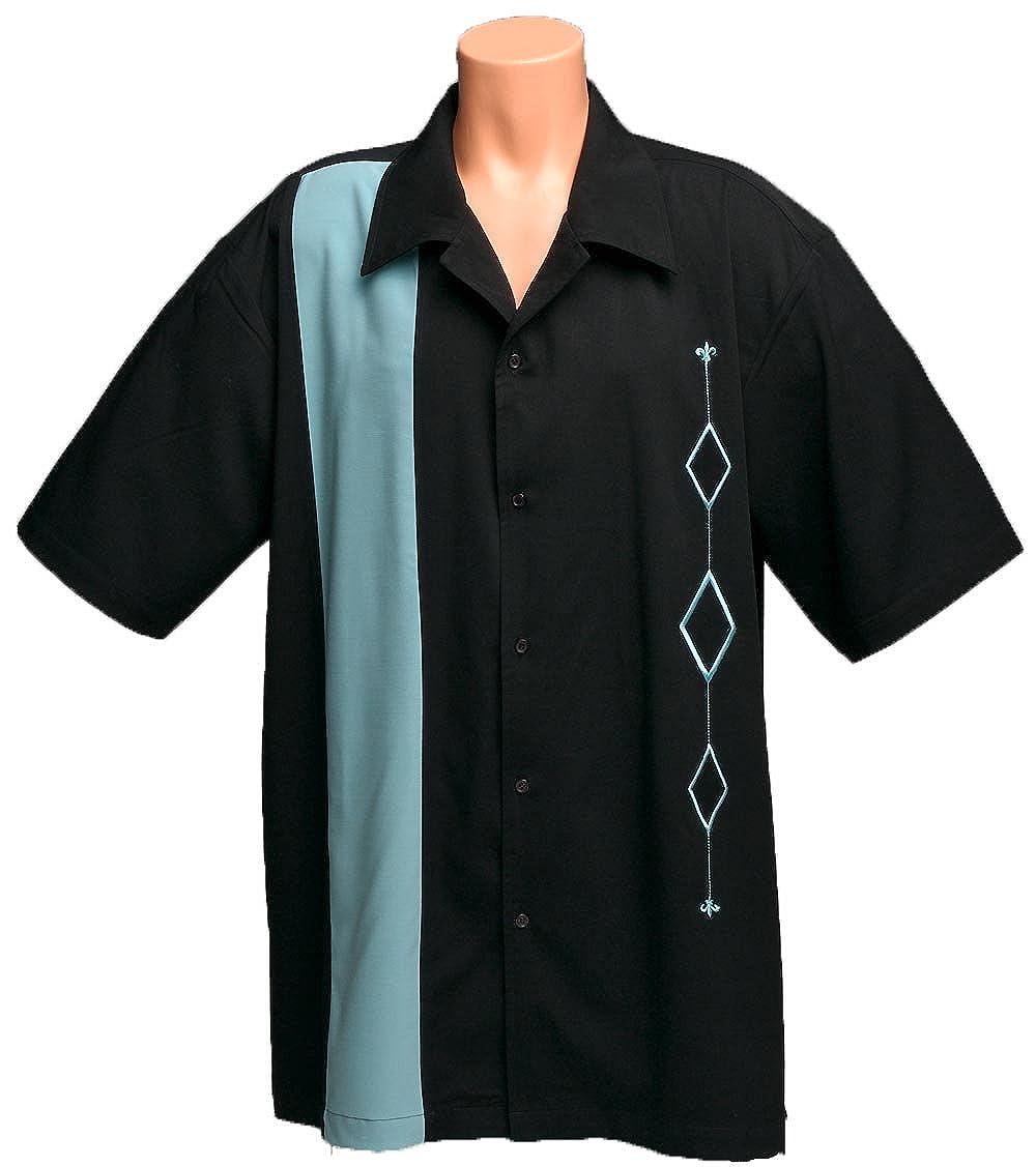 9d351b23 Mens Retro Bowling Shirt, BIG & TALL sizes. AQUA and Black