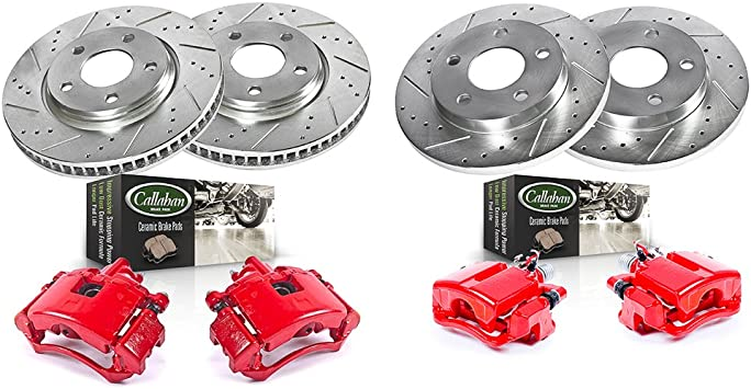 FRONT 4 REAR Powder Coated Red Quiet Low Dust 4 8 Calipers + Ceramic Pads Performance Kit Rotors