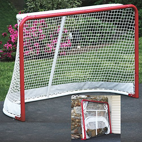EZGoal Hockey Folding Pro Goal, 2-Inch, Red/White – (Lifetime Warranty On Goal Net)