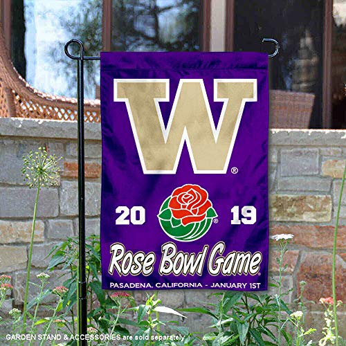 (College Flags and Banners Co. Washington Huskies 2019 Rose Bowl Game Garden Flag)