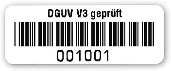 40x15mm hochgl/änzend wei/ß Nummernkreis 02 001.03 000 Pr/üfetiketten DGUV V3 gepr/üft fertig bedruckt mit 5-stelligem fortlaufendem Barcode 39 ohne Pr/üfziffer f/ür alle g/ängigen Pr/üfger/äte