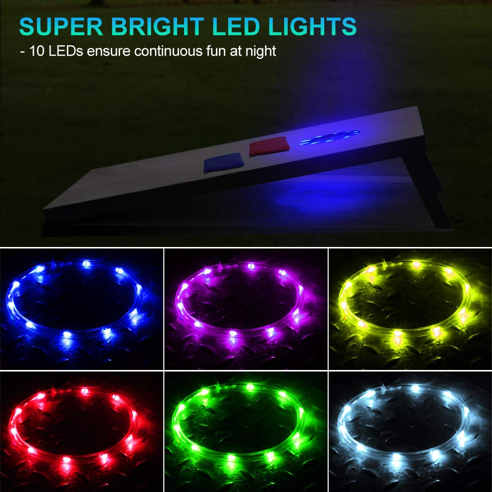 6 Inch Bright LED Light Rings for Night Backyard Bean Bag Toss Cornhole Game 16 Color-Changing Cornhole Board Hole Lights with Remote Control Alritz LED Cornhole Lights