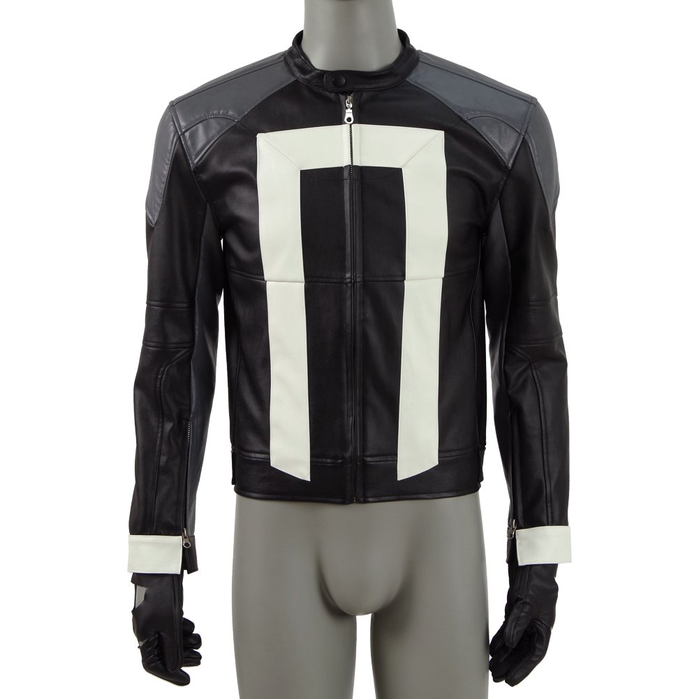 Unisex PU Jacket Agents Ghost Knight with Gloves for Cosplayer Party&Christmas Gift