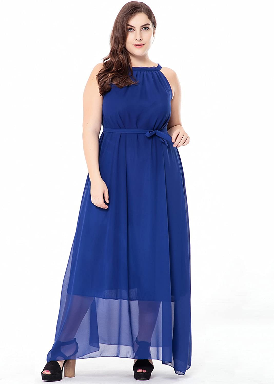 Fashionmall Womens Plus Size Halter Neck Sleeveless Solid Color Chiffon Maxi Dress