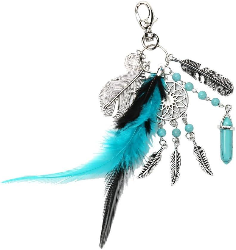 Dream Catcher Keyring estilo bohemio piedras preciosas hoja de palma colgante llavero llaveros para mujeres decoración joyería size 8CM
