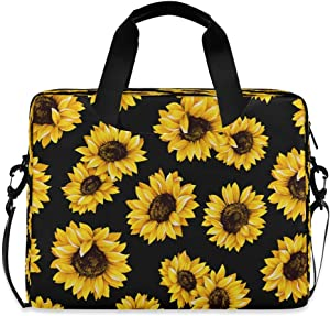 CCDMJ Laptop Case Sunflower Floral Flower Pattern Laptops Sleeve Shoulder Messenger Bag Briefcase Notebook Computer Tablet Bags with Strap Handle for Women Man Boys Girls 16 Inch