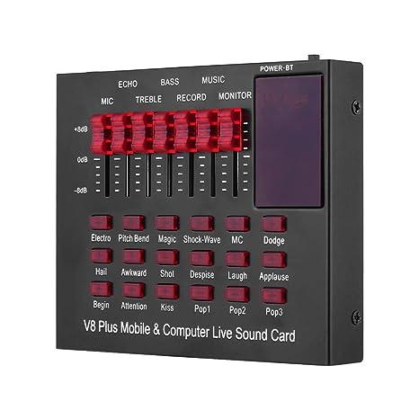 Muslady Tarjeta de Sonido Multifuncional Recargable, Móvil y en Vivo para Computadora Interfaz de Audio USB con Múltiples Efectos de Sonido BT ...