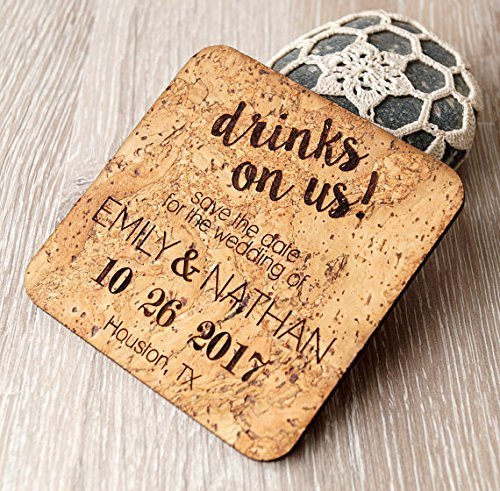 (Cork save the dates, rustic save the date coasters or magnets, vineyard wedding magnets, personalized laser engraved coasters - Set of 25)