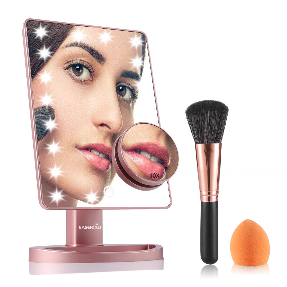 Easehold Lighted Makeup Vanity Mirror with 10X Magnification Mirror Bonus Beauty Brush and Sponge Set (Rose Gold)