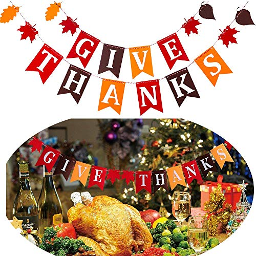 Thanksgiving Day Banner - Give Thanks Themed Party Supplies Decorations
