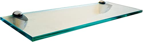 Fab Glass and Mirror S-10x21RECCHBR 10 L x 21 W Rectangle Kit,Clear Tempered Floating Glass Shelf, 10 X 21 ,