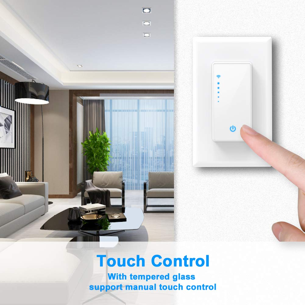 Smart WiFi Light Dimmer Switch, In-Wall Light Switch Works with Alexa, Google Home Assistant [Voice/Remote/Touch Control] [Timer Function]