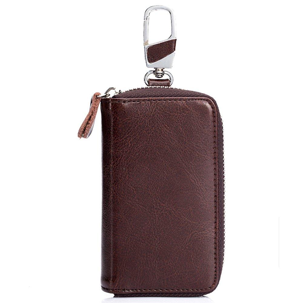 Key Holder Bag SINOKAL Keychain Bag Unisex Large Leather Wallet Case Wallet with 12 Hook