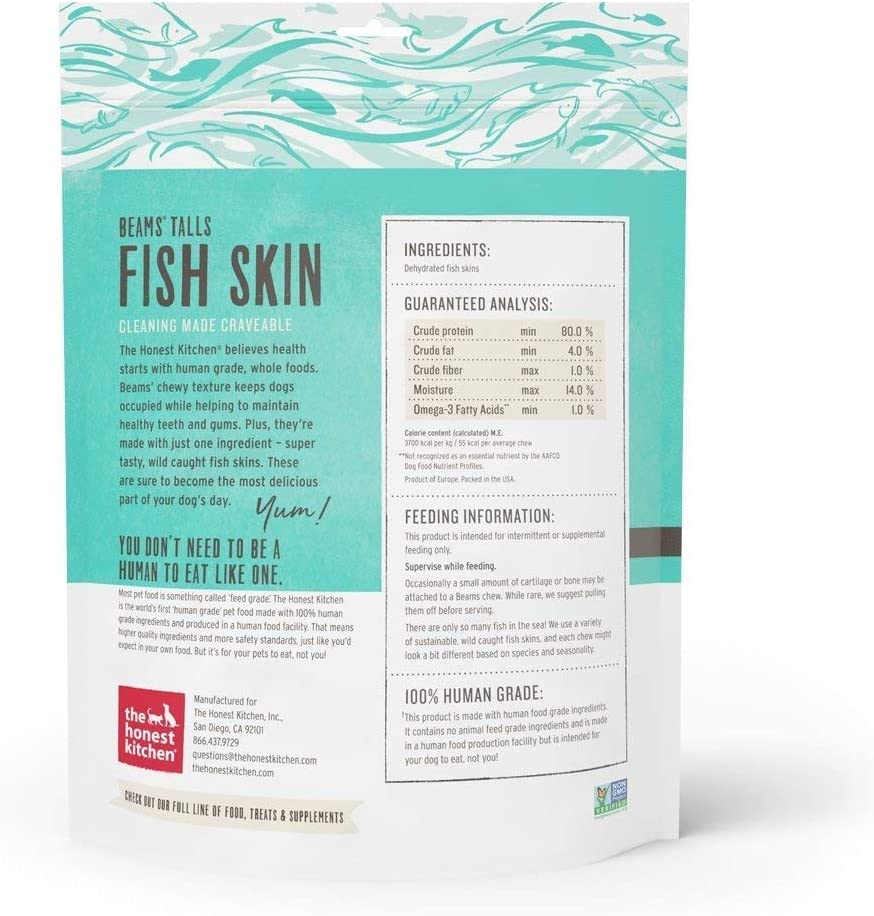 The Honest Kitchen Beams Fish Skin Treat – Dehydrated Grain Free Fish Skins Dog Chew, Talls 12 oz
