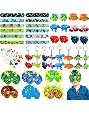 64pcs JoyJon Dinosaur Party Favor Party Supplies Dinosaur Keychains, Rings, Slap Bracelets, Temporary Tattoos, Masks for - Ideal As Party Favor, Reward Prizes, carnival And Events,Goodie Bag Fillers