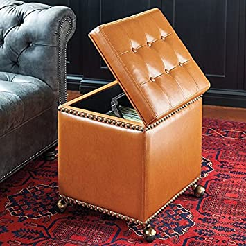Gorgeous Tufted Rolling File Storage Ottoman Nailheads Home Office Cognac  Brown