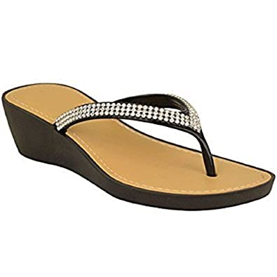 308edb451e23bf Sky Walker Ladies Women Wedge Toe-Post Low Heel Flip Flops Diamante Jelly  Sandals Beach