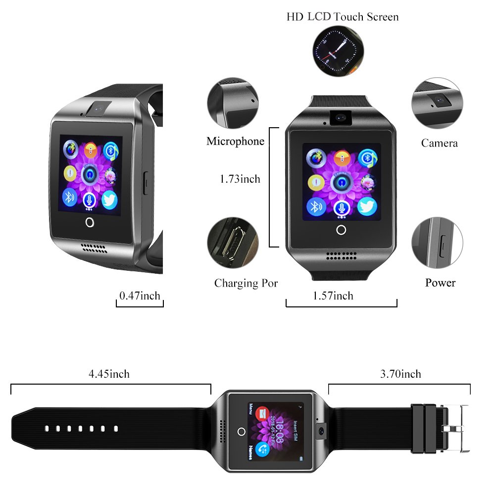 Amazon.com: Smart Watch Bluetooth Q18 Touchscreen Wrist Watches SHFY Camera Compatible Android Phones Men Women (Gold): Cell Phones & Accessories