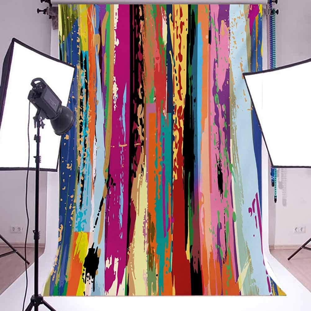 Abstract 6.5x10 FT Photo Backdrops,Multicolored Expressionist Work of Art Vibrant Rainbow Design Tainted Pattern Background for Photography Kids Adult Photo Booth Video Shoot Vinyl Studio Props