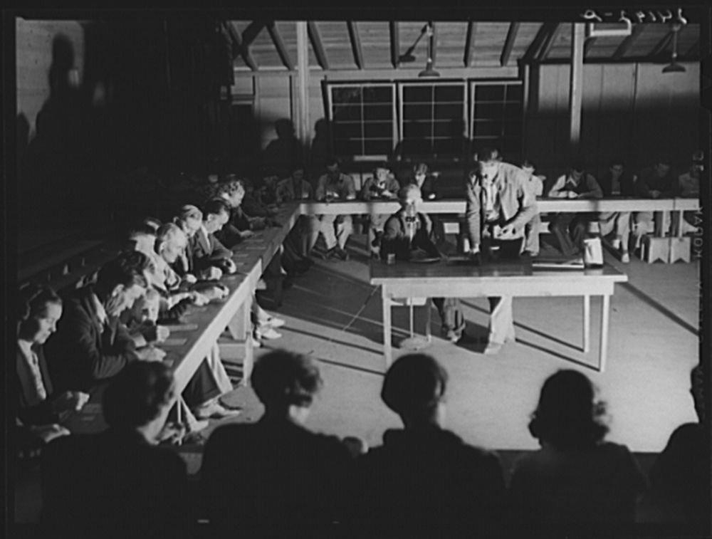 1940 Photo Bingo game. Tulare migrant camp. Visalia, California Location: California, Tulare County, Visalia by Historic Photos