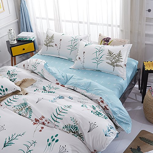 Kimko Kids Leaf Bedding Set- Girls Reversible Leaf Pattern & White Cover & Blue Sheet