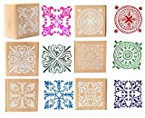 Wood Rubber Stamps - Square Floral Pattern Wooden Symbol Stamp Set For DIY Craft Card Scrapbooking Supplies 6 Pieces