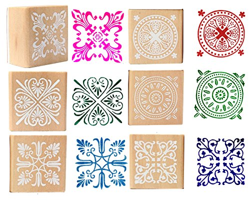 Wood Rubber Stamps - Square Floral Pattern Wooden Symbol Stamp Set For DIY Craft Card Scrapbooking Supplies 6 Pieces by Luxiya