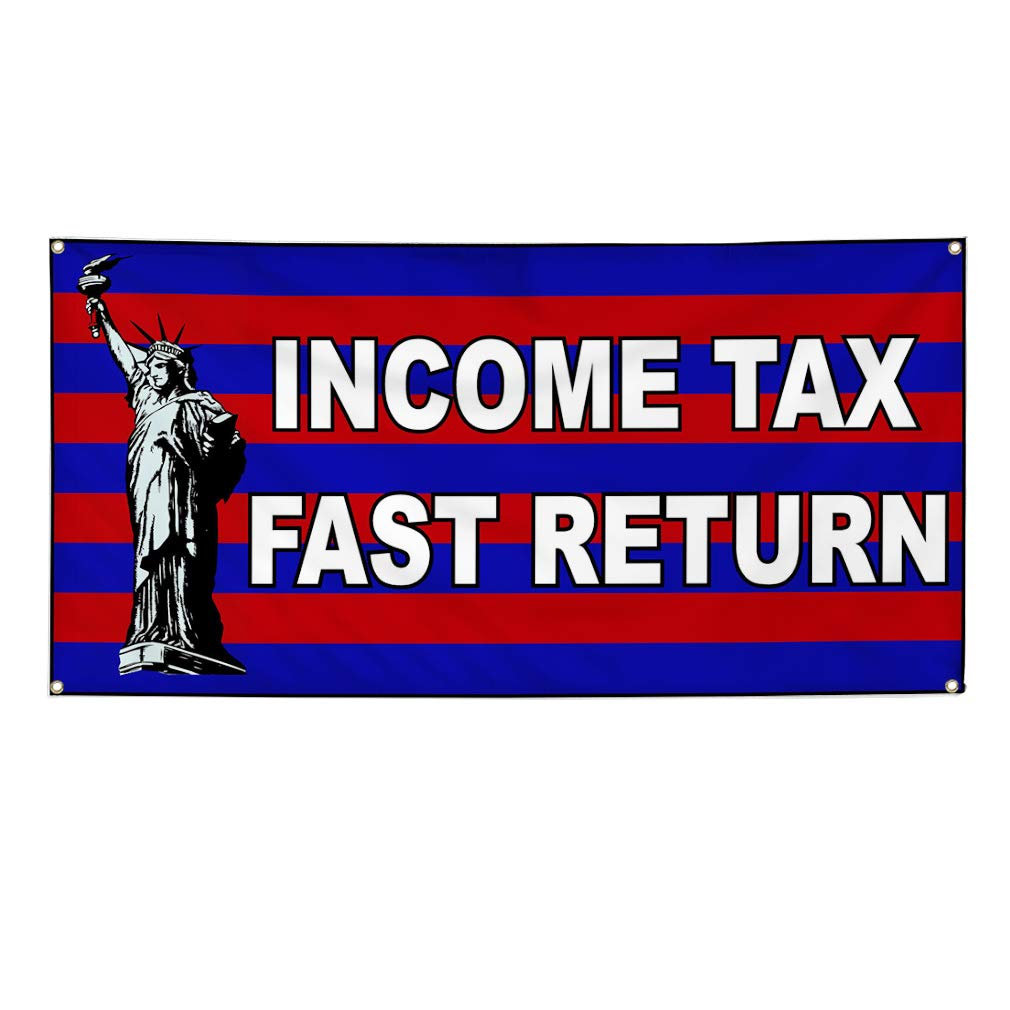 Vinyl Banner Sign Income Tax Fast Return Business Outdoor Marketing Advertising Green 24inx60in Multiple Sizes Available 4 Grommets Set of 3