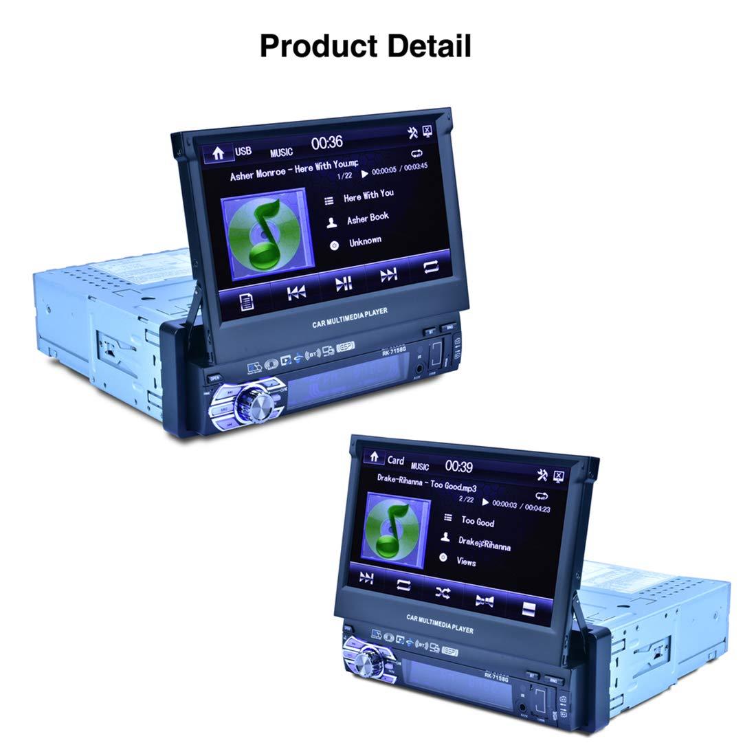 con Funzione Vista Posteriore Car MP3 e MP4 e MP5 RONGCHAO Ricevitore autoradio Universale RK-7158G HD 7 Pollici Single DIN Car MP3 MP5 Player Navigazione GPS Bluetooth Touch Stereo Radio