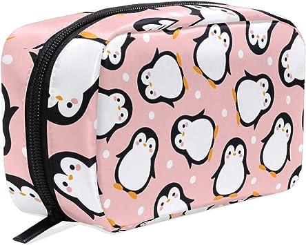 Estuche de Maquillaje con diseño de pingüino Rosa para cosméticos, Ideal para Viajes de Invierno o de Animales, para Mujeres y niñas: Amazon.es: Equipaje
